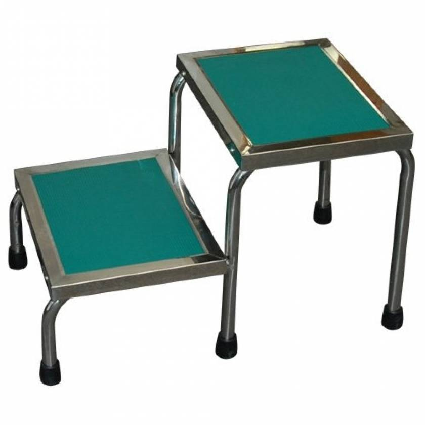 MRI Non-Magnetic Narrow Double Step Stool without Handrail