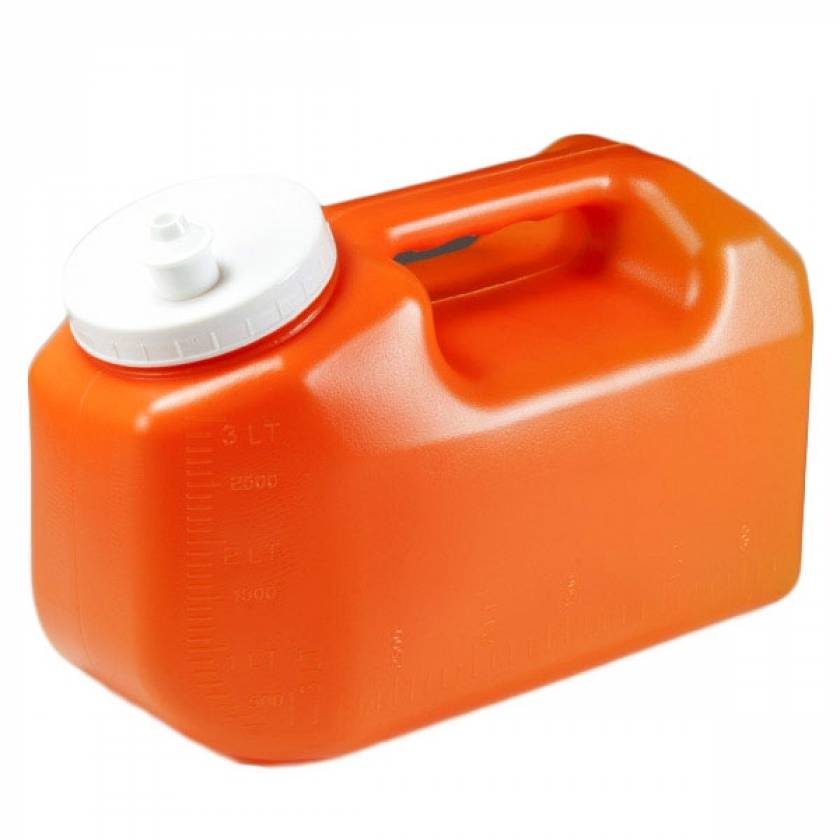 24 Hour Urine Collection Container - 3 Liter with Screwcap and Snap Pour Spout
