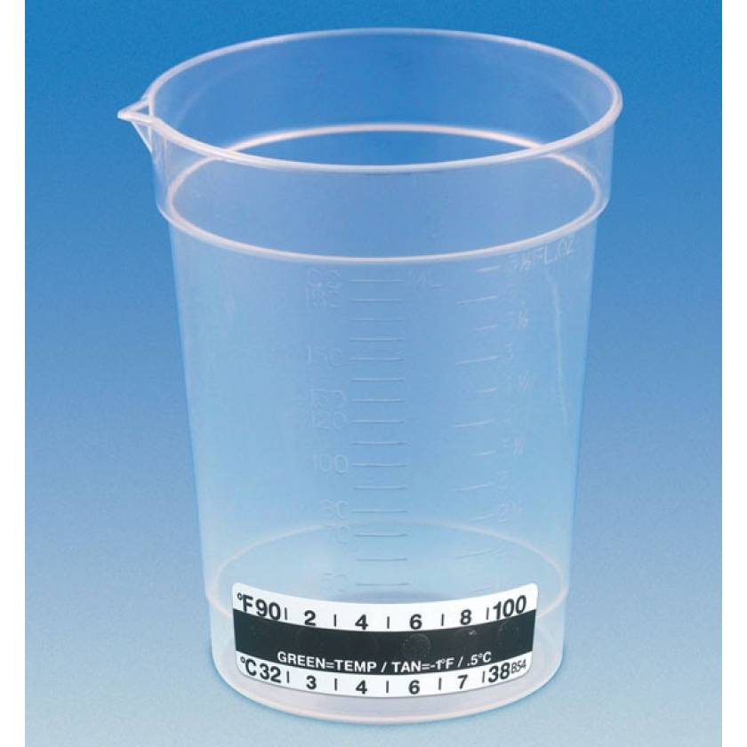 6.5 oz Specimen Container with Pour Spout and Thermometer Strip - Non-Sterile
