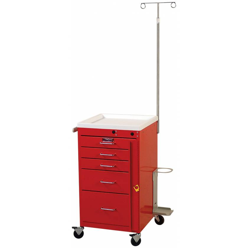 Mini Line Emergency Cart Short Five Drawer - Specialty Accessory Package with Breakaway Lock