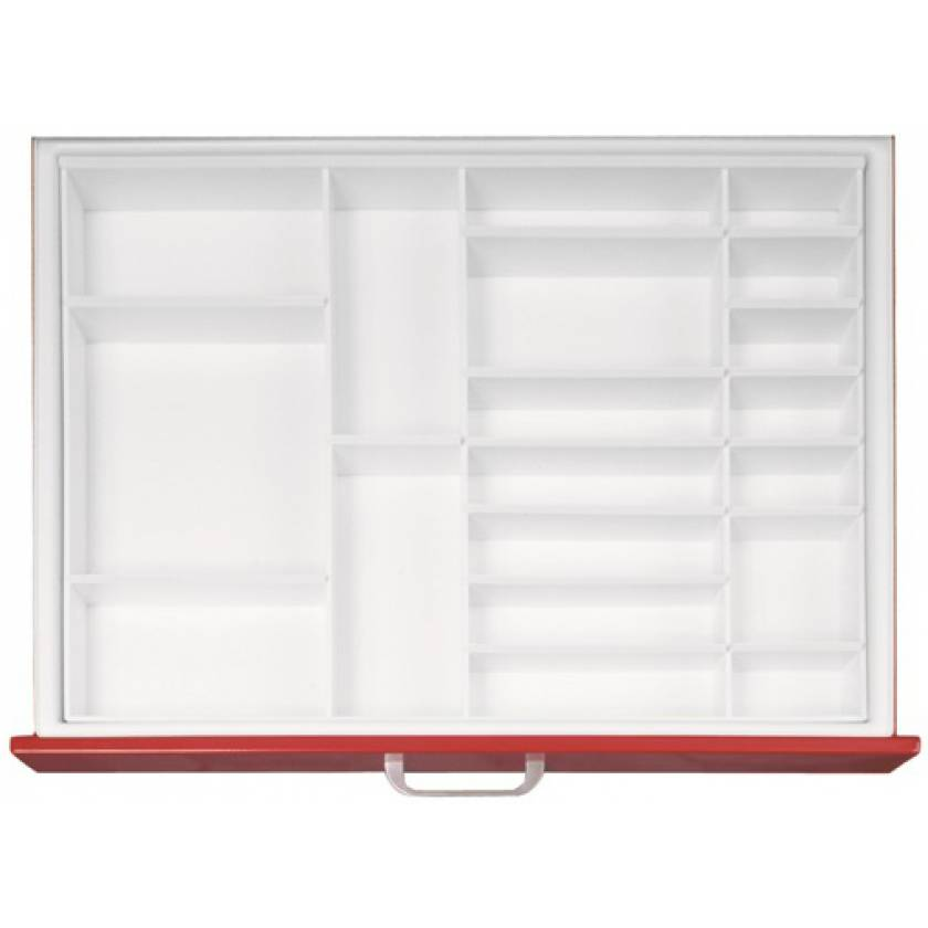 "Full Drawer Tray with Fixed Divider for Classic & Universal Line Carts 3"" Drawers - Matrix #2"
