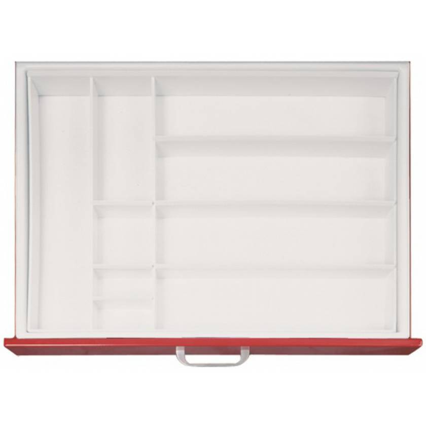 "Full Drawer Tray with Fixed Divider for Classic & Universal Line Carts 3"" Drawers - Matrix #3"