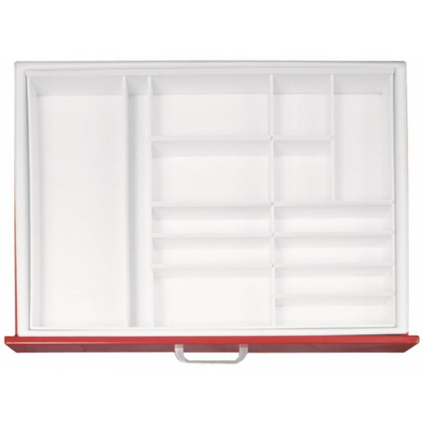 """Full Drawer Tray with Fixed Divider for Classic & Universal Line Carts 3"""" Drawers - Matrix #5"""