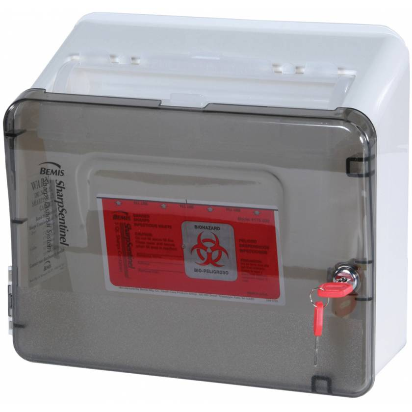 Locking Sharps Holder with 5 Qt. Sharps Container for Classic, Mini, and Universal Line Carts