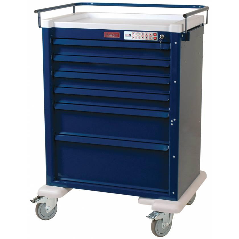 Universal Line Aluminum Anesthesia Workstation Six Drawer - Electronic Locking Keyless Entry