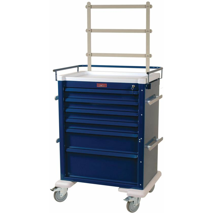 Universal Line Aluminum Anesthesia Workstation Six Drawer - Accessory Package with Key Lock