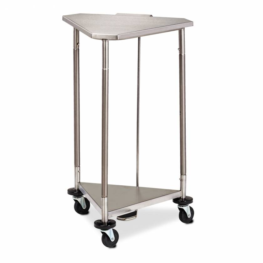 "Clinton HS-54 Space Saver 18"" Stainless Steel Triangular Hamper With Stainless Steel Lid"