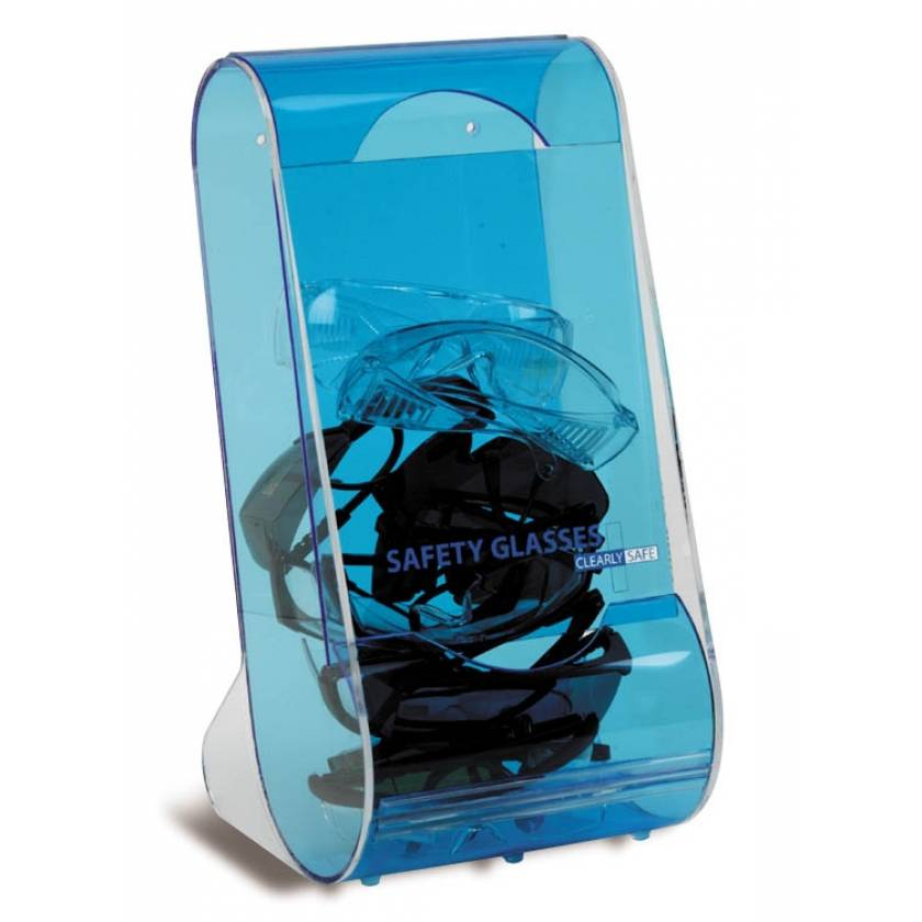 "Clearly Safe Acrylic Safety Eyeglass Dispenser - Blue - 8"" L x 8"" W x 16"" H"