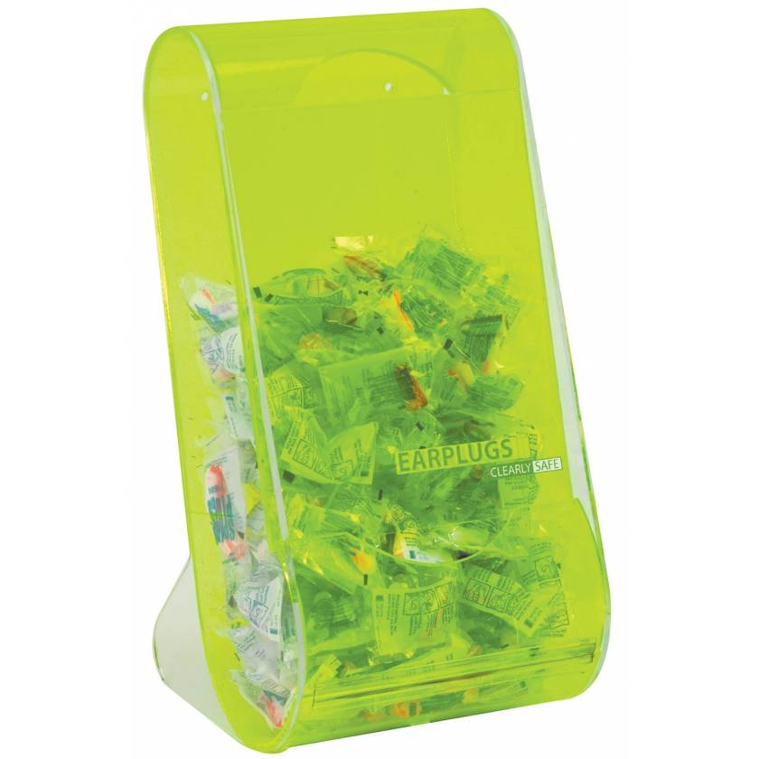 Clearly Safe Acrylic Safety Earplug Dispenser - Green
