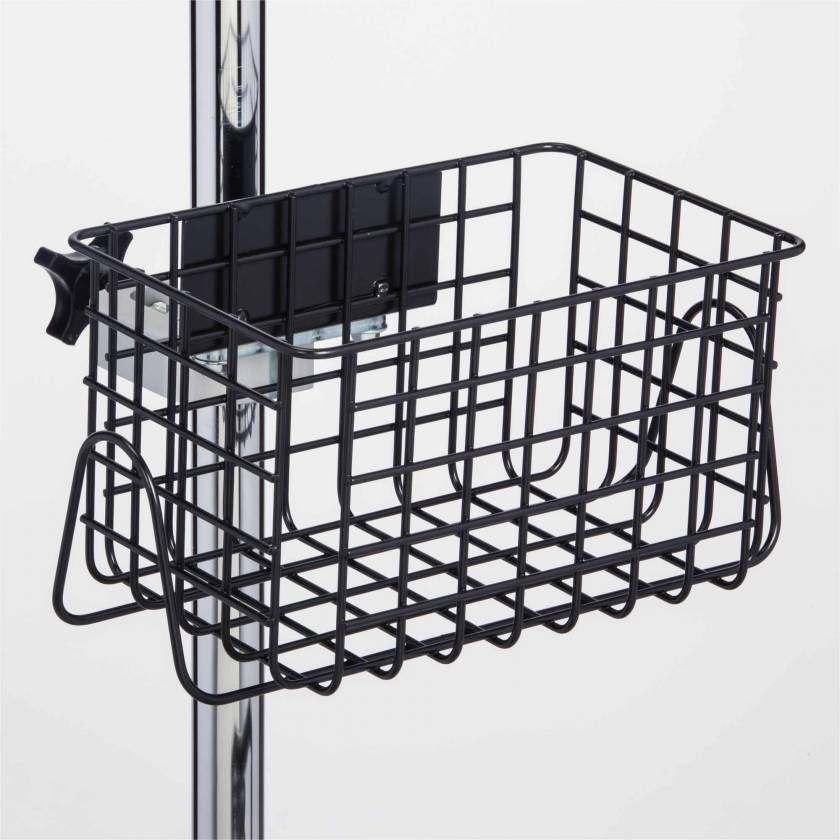 "Clinton IV-52B Heavy Duty Black Epoxy Coated Finish Wire Basket - 12"" W x 6"" H x 6.5"" D"