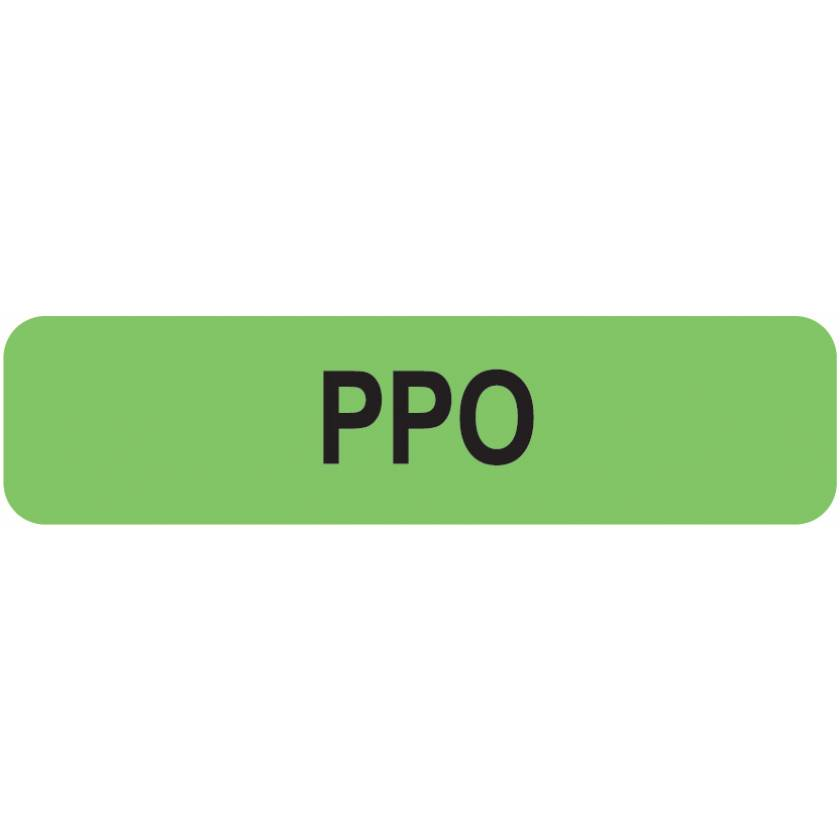 "PPO Label - Size 1 1/4""W x 5/16""H"