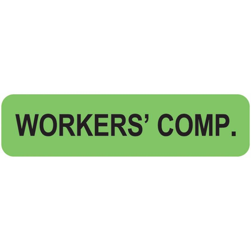 """WORKERS' COMP. Label - Size 1 1/4""""W x 5/16""""H"""