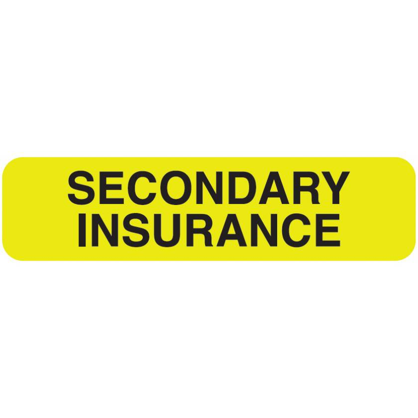 """SECONDARY INSURANCE Label - Size 1 1/4""""W x 5/16""""H"""