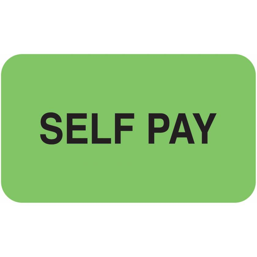 "SELF PAY Label - Size 1 1/2""W x 7/8""H"
