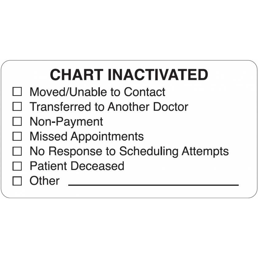 """CHART INACTIVATED Label - Size 3 1/4""""W x 1 3/4""""H"""