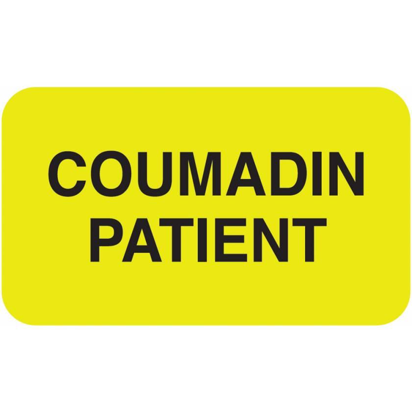 """COUMADIN PATIENT Label - Size 1 1/2""""W x 7/8""""H"""