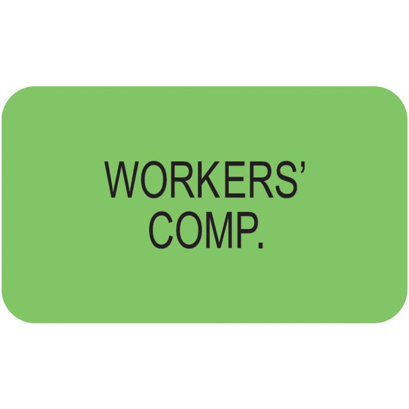 """WORKERS' COMP Label - Size 1 1/2""""W x 7/8""""H"""