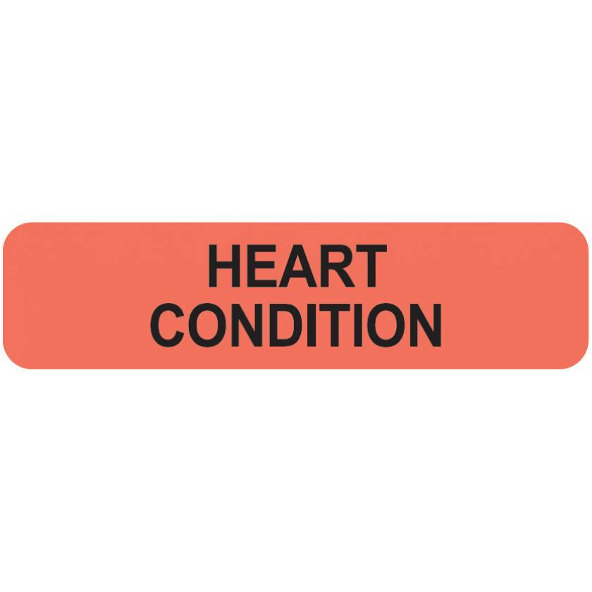 """HEART CONDITION Label - Size 1 1/4""""W x 5/16""""H"""