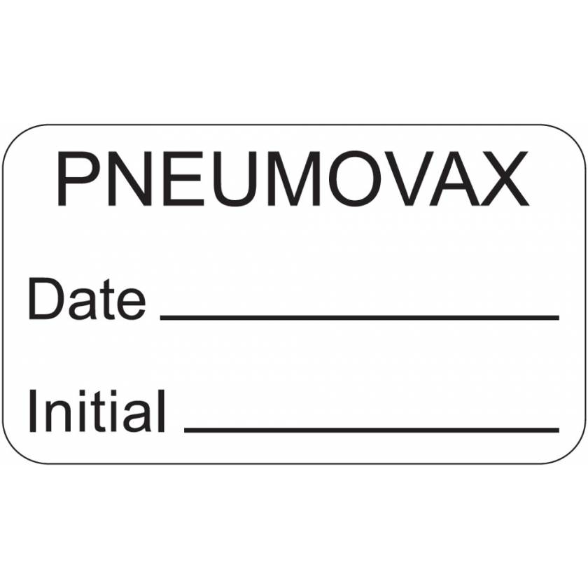 """PNEUMOVAX Label - Size 1 1/2""""W x 7/8""""H"""