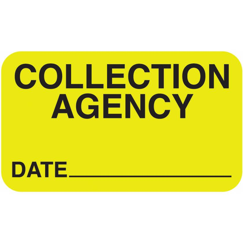 """COLLECTION AGENCY Label - Size 1 1/2""""W x 7/8""""H"""