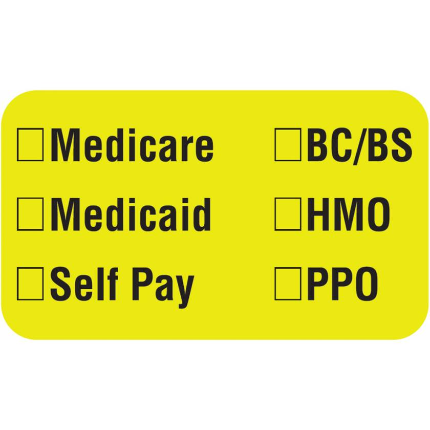 "MEDICARE MEDICAID SELF PAY Label - Size 1 1/2""W x 7/8""H"