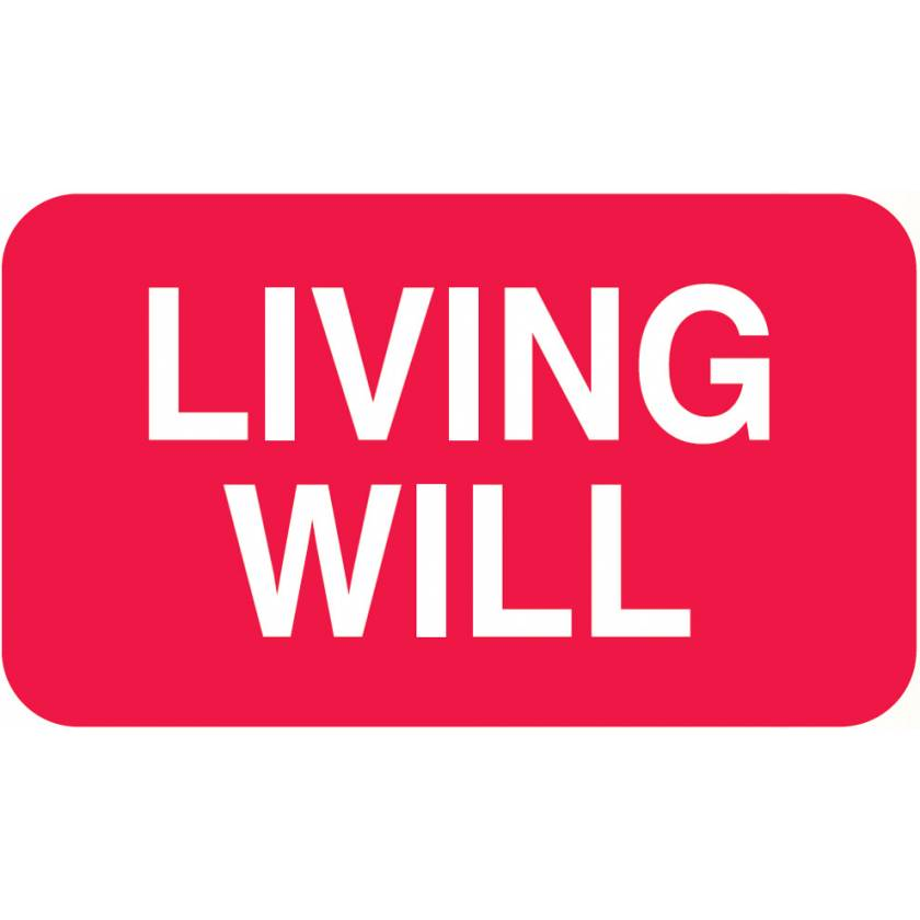 """LIVING WILL Label - Size 1 1/2""""W x 7/8""""H"""