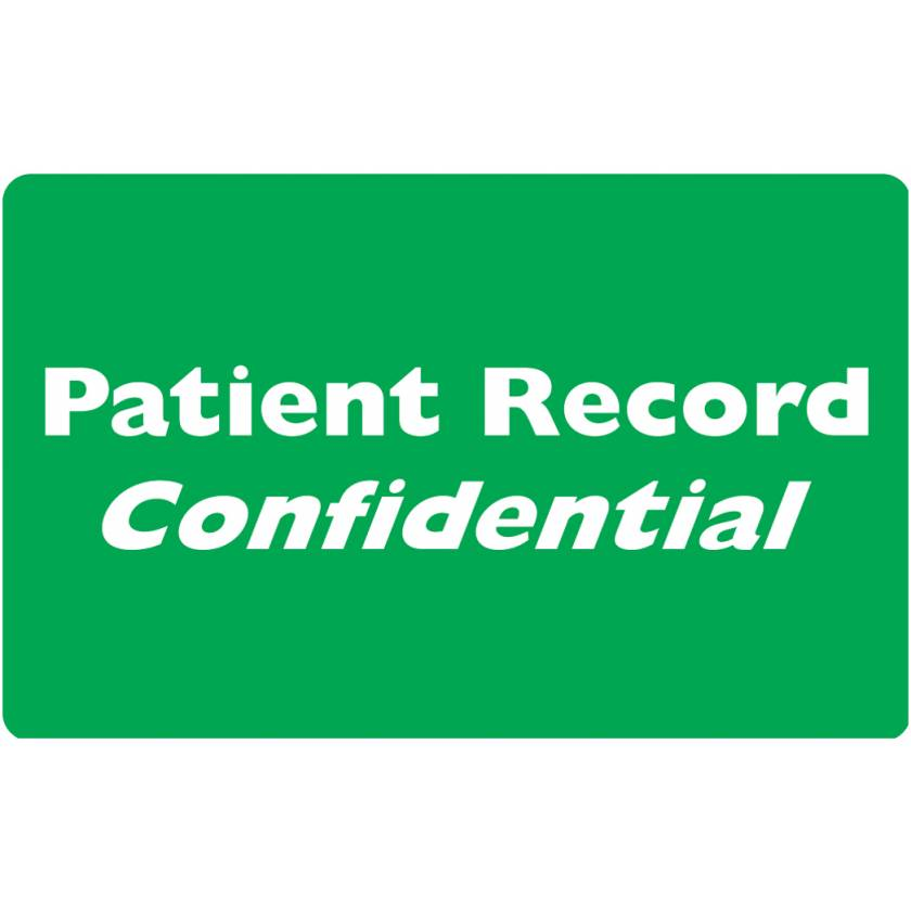 "PATIENT RECORD CONFIDENTIAL Label - Size 4""W x 2 1/2""H"