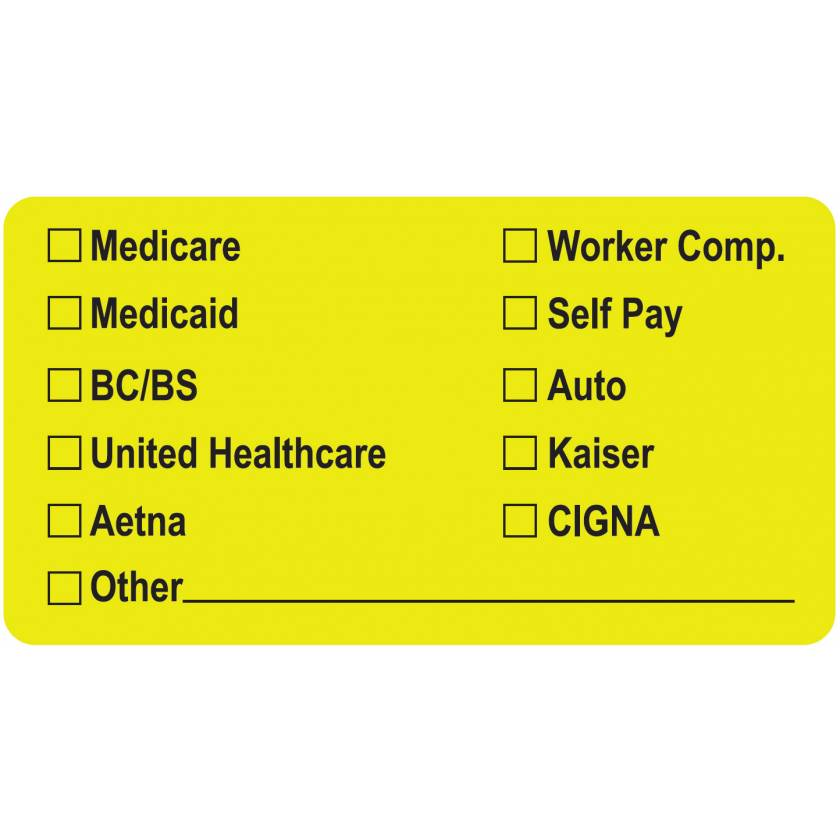 "MEDICARE MEDICAID BC/BS Label - Size 3 1/4""W x 1 3/4""H"
