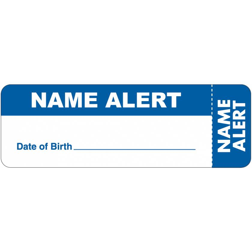 """NAME ALERT Date of Birth Label - Size 3""""W x 1""""H - Wrap Around Style"""