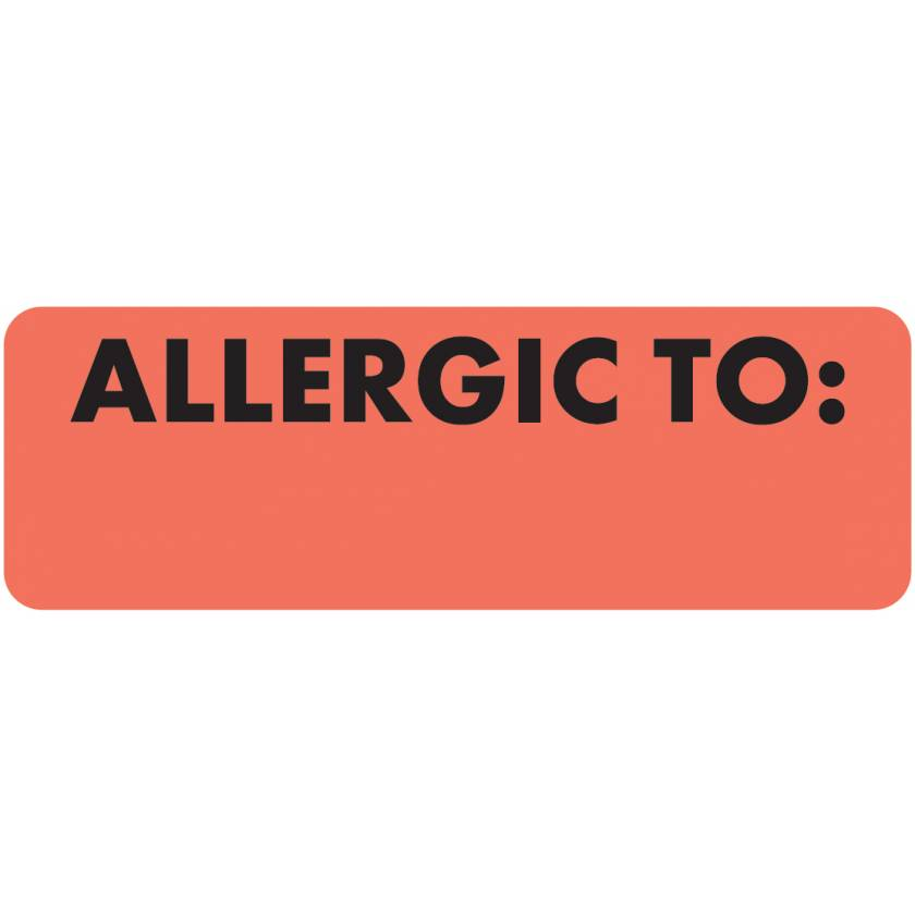 """ALLERGIC TO Label - Size 3""""W x 1""""H - Fluorescent Red"""