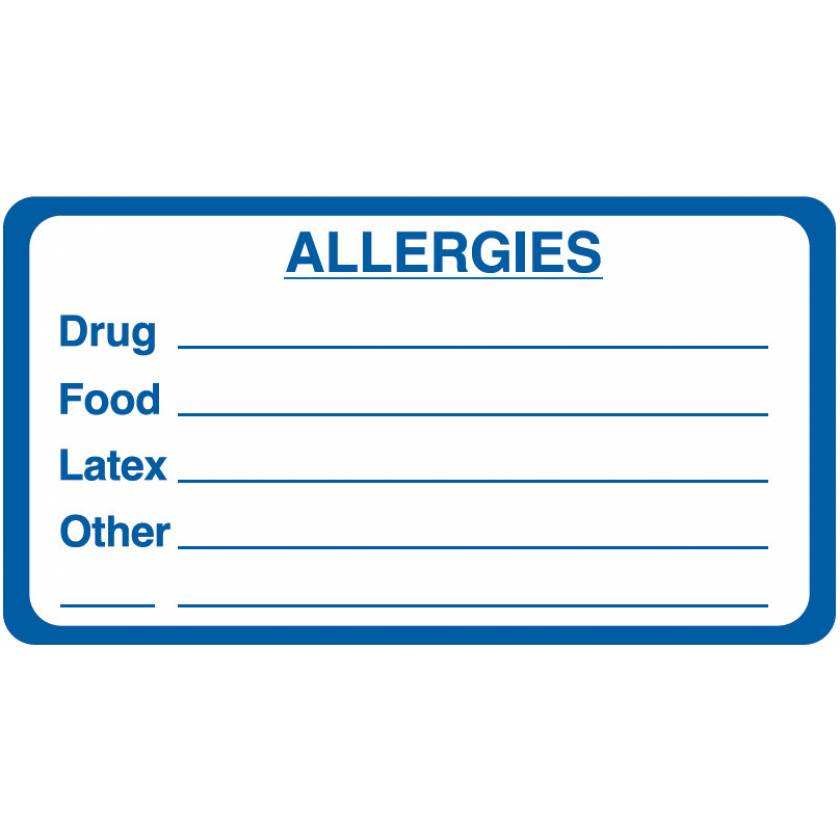 "ALLERGIES Label - Size 3 1/4""W x 1 3/4""H"