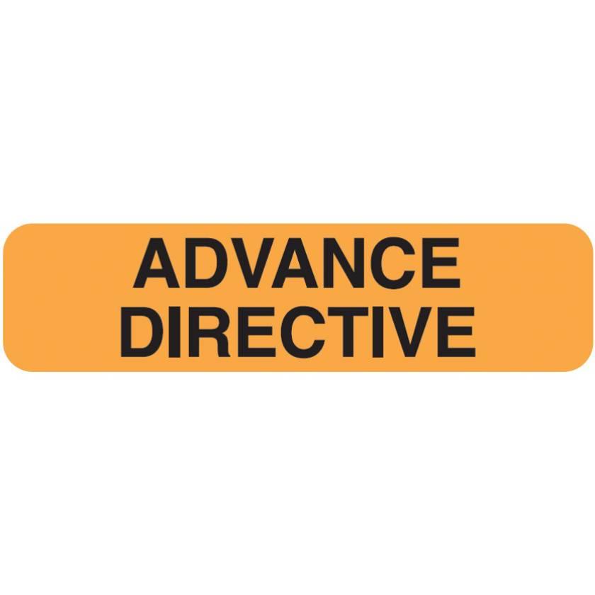 "ADVANCE DIRECTIVE Label - Size 1 1/4""W x 5/16""H - Fluorescent Orange"