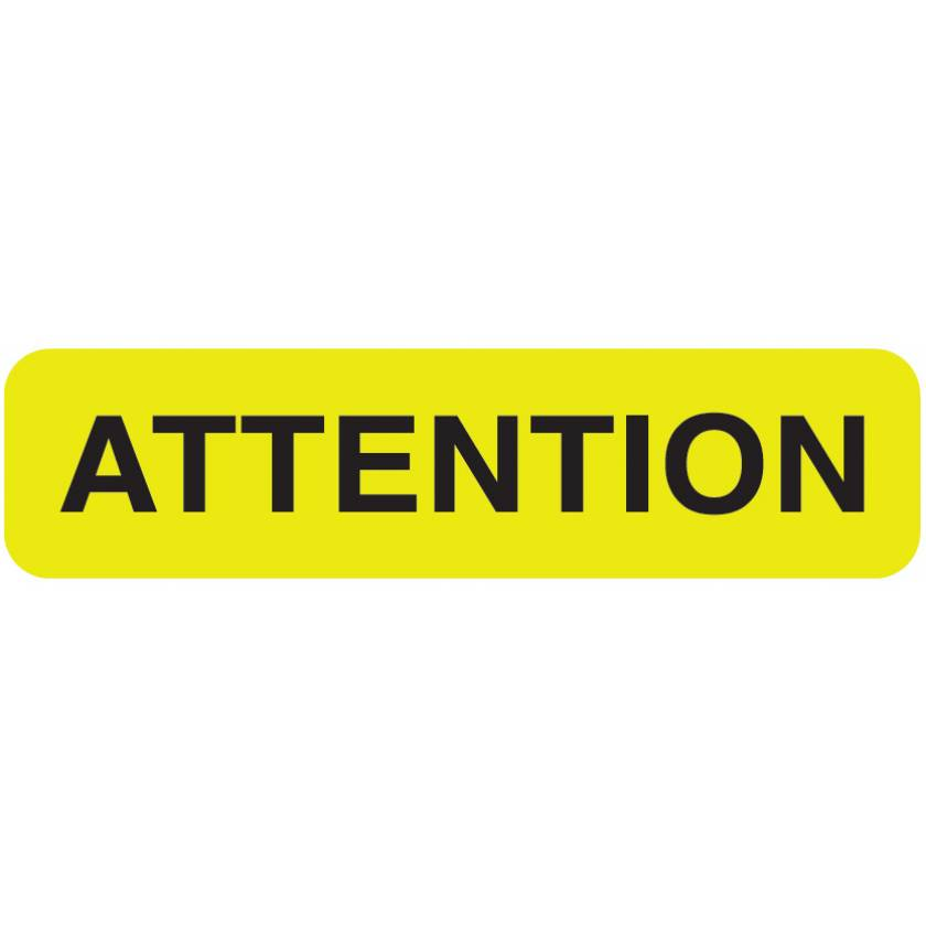 "ATTENTION Label - Size 1 1/4""W x 5/16""H"