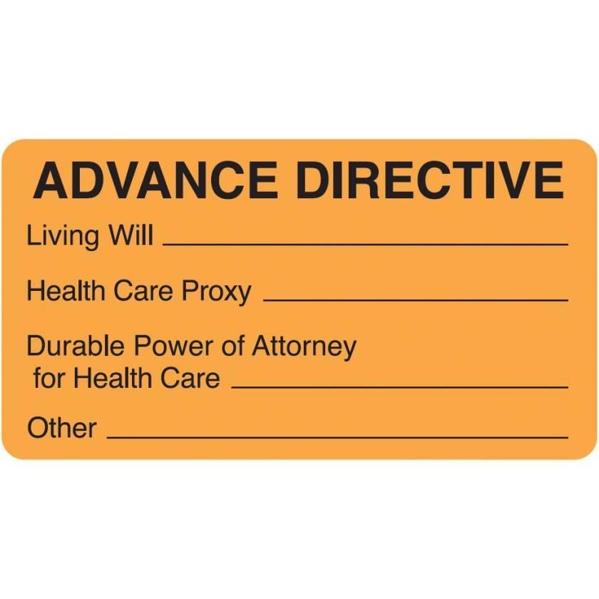 "ADVANCE DIRECTIVE Label - Size 3 1/4""W x 1 3/4""H - Fluorescent Orange"