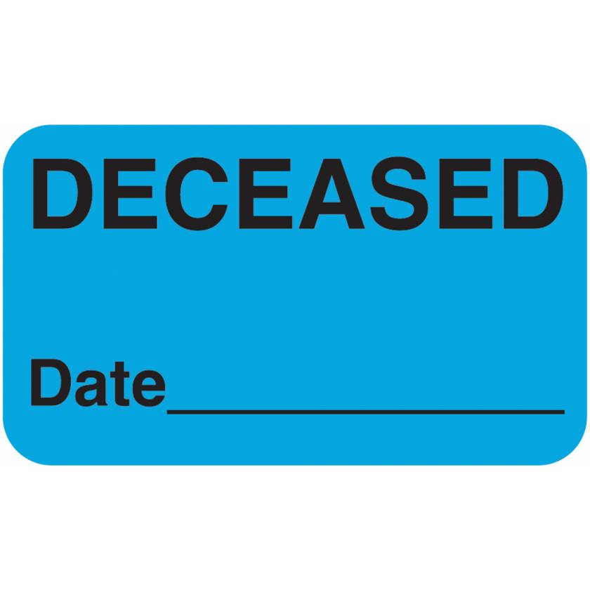"DECEASED Label - Size 1 1/2""W x 7/8""H"
