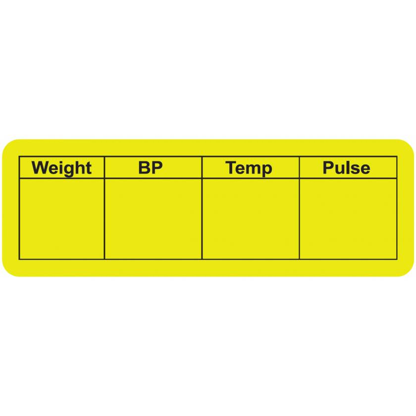 """Weight BP Temp Pulse Label - Size 3""""W x 1""""H"""