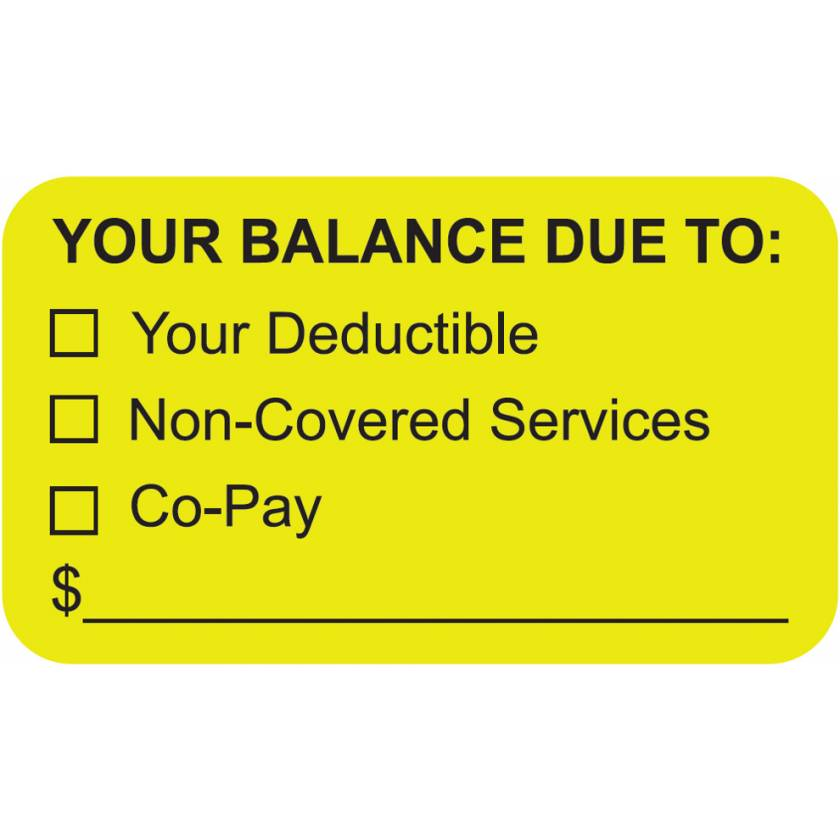 """YOUR BALANCE DUE TO Label - Size 1 1/2""""W x 7/8""""H"""