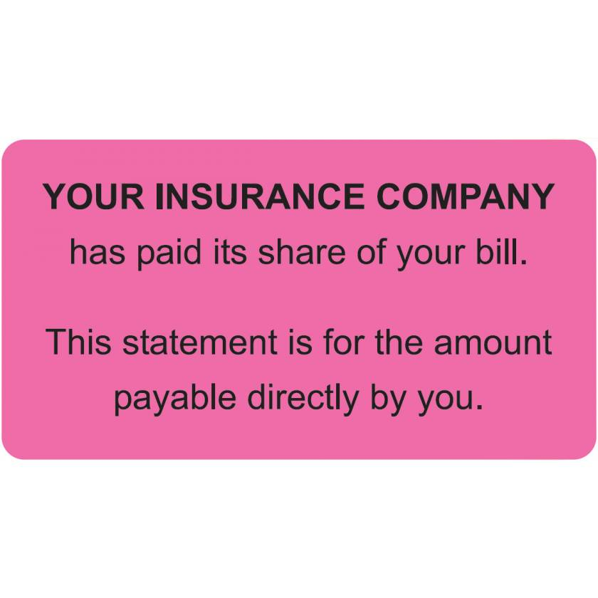 """YOUR INSURANCE COMPANY Label - Size 3 1/4""""W x 1 3/4""""H"""