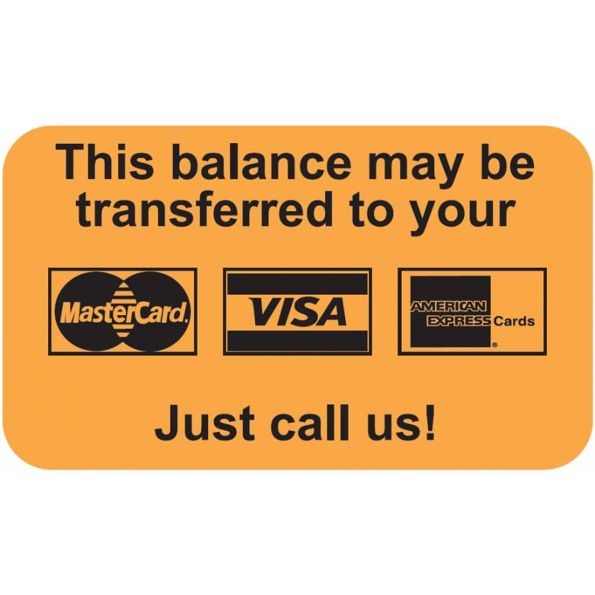 """THIS BALANCE MAY BE TRANSFERRED TO Label - Size 1 1/2""""W x 7/8""""H"""
