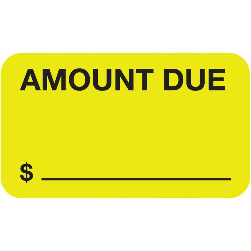 "AMOUNT DUE Label - Size 1 1/2""W x 7/8""H"