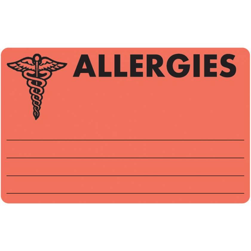 "ALLERGIES Label - Size 4""W x 2 1/2""H"
