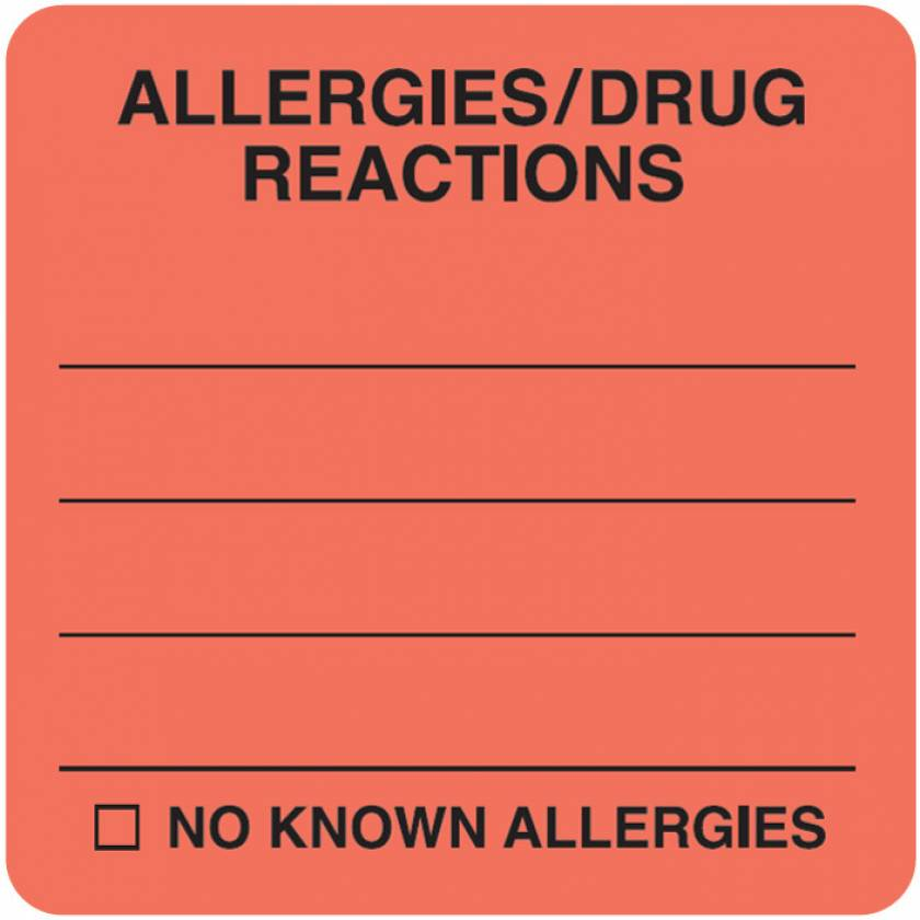 "ALLERGIES DRUG REACTIONS Label - Size 2""W x 2""H"