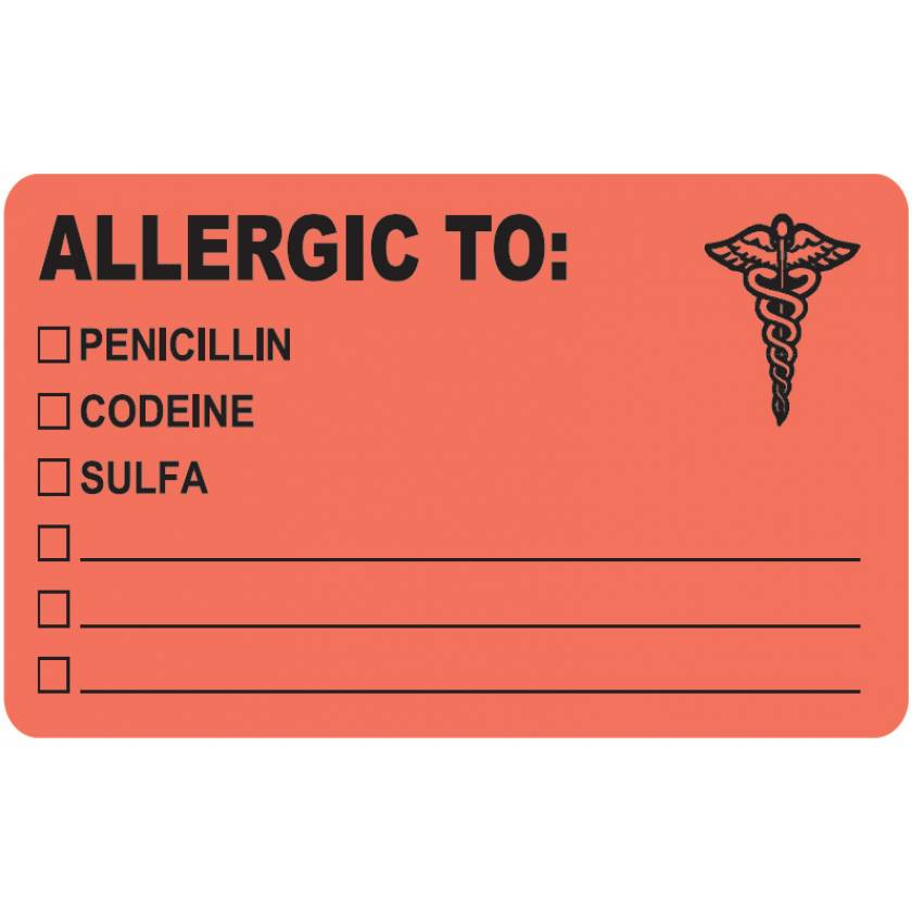 """ALLERGIC TO Label - Size 4""""W x 2 1/2""""H"""
