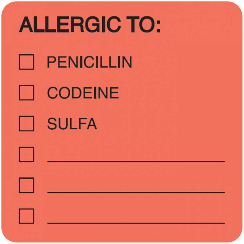 """ALLERGIC TO Label - Size 2""""W x 2""""H"""