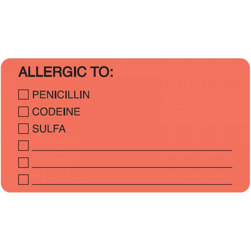 "ALLERGIC TO Label - Size 3 1/4""W x 1 3/4""H - Fluorescent Red"