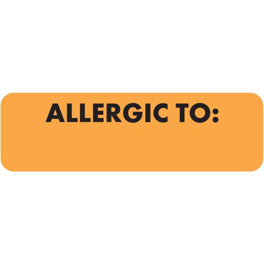 "ALLERGIC TO Label - Size 2 1/2""W x 3/4""H - Black Font on Fluorescent Orange"
