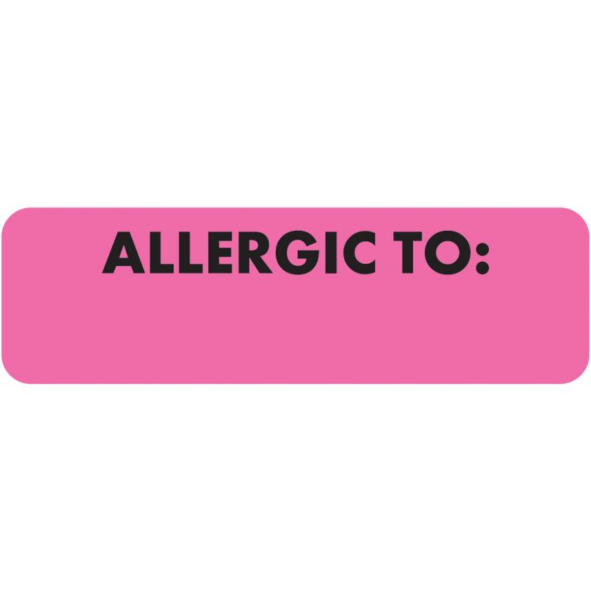 """ALLERGIC TO Label - Size 2 1/2""""W x 3/4""""H - Black Font on Fluorescent Pink"""
