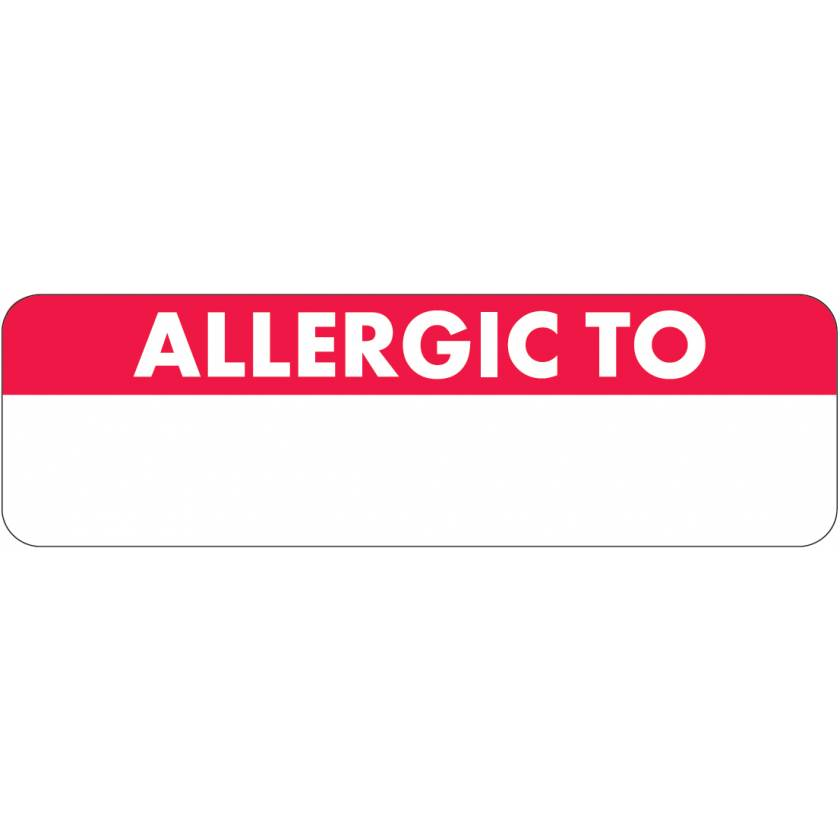 """ALLERGIC TO Label - Size 2 1/2""""W x 3/4""""H - White Font on Red and White Label"""