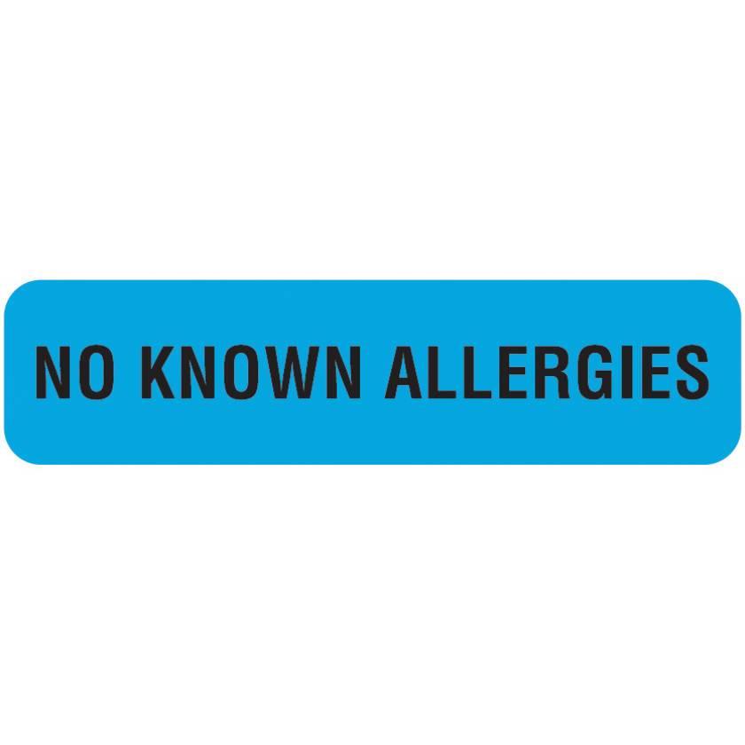 "NO KNOWN ALLERGIES Label - Size 1 1/4""W x 5/16""H"