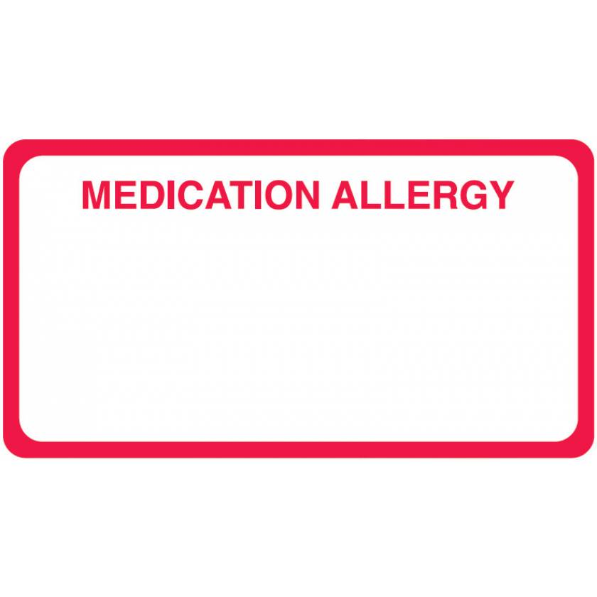 """MEDICATION ALLERGY Label - Size 3 1/4""""W x 1 3/4""""H"""